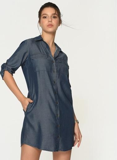 Loves You Vintage Aksesuarlı Tensel Gömlek Elbise Lacivert